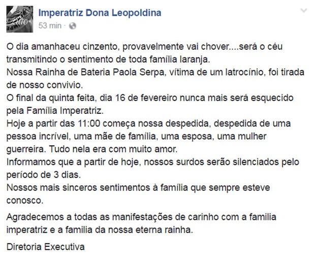 Imperatriz Dona Leopoldina decreta luto de três dias em mensagem no Facebook (Foto: Reprodução)