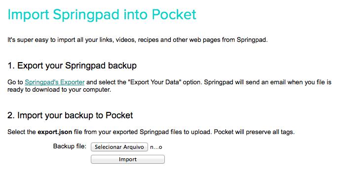 Importando dados para o Pocket (Foto: Reprodução/Helito Bijora)