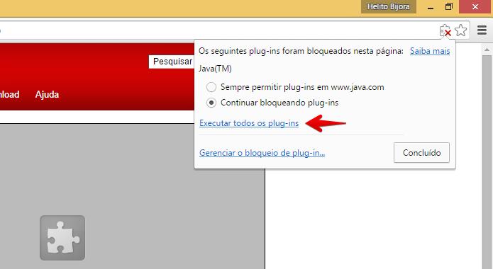 Desbloqueando plugin no Chrome (Foto: Reprodução/Helito Bijora)