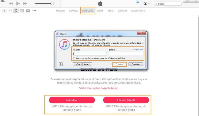 Selecione o plano do Apple Music e confirme com sua ID e senha (Foto: Reprodução/Barbara Mannara)