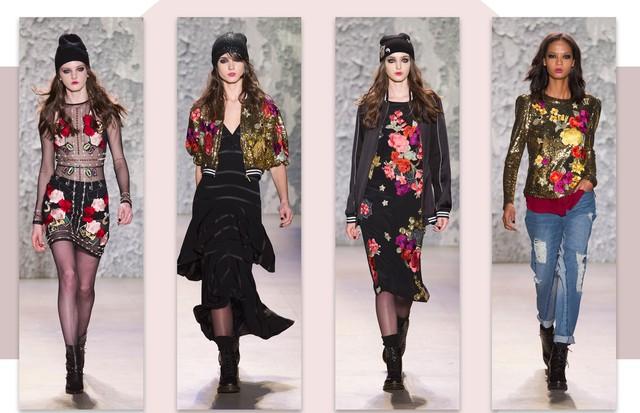 Tendência bordados florais: Nicole Miller (Foto: Reprodução, Getty, Antonio Barros e ImaxTree)