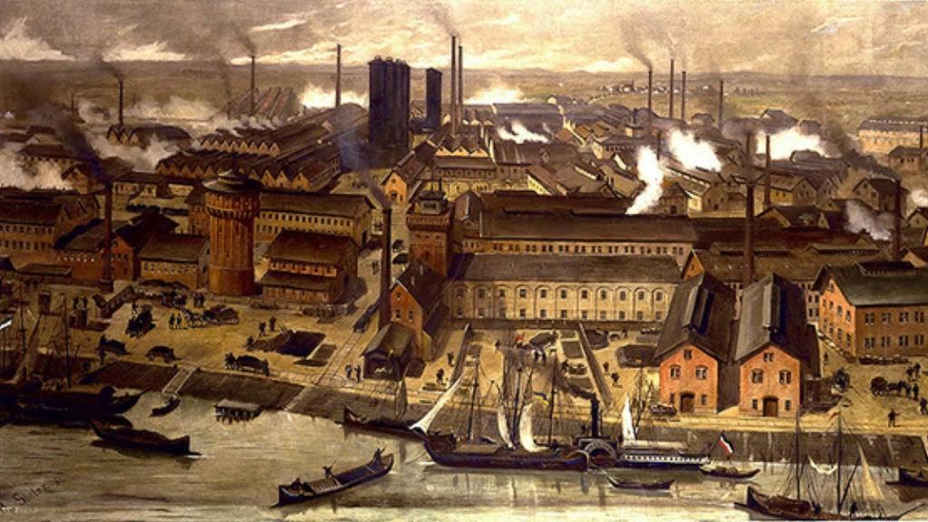 Pintura de fábricas do período da Revolução Industrial (Foto: Reprodução)