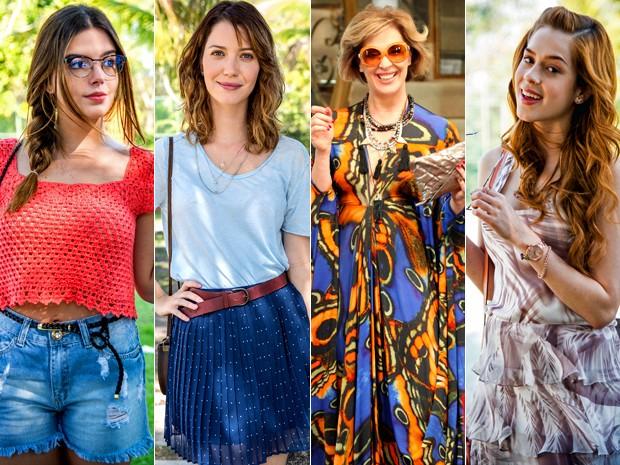 Looks de Alto Astral combinam leveza, sofisticação e muito estilo (Foto: Raphael Dias/ Fabio Rocha/ Carol Caminha/ Raphael Dias/ Gshow)