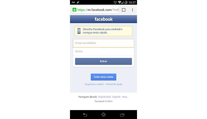Acesse o Facebook pelo navegador do celular (Foto: Reprodução/Paulo Alves)