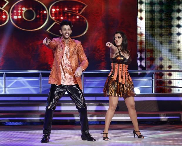 Gusttavo Lima e Ana Flávia Simões (Foto: Domingão do Faustão / TV Globo)