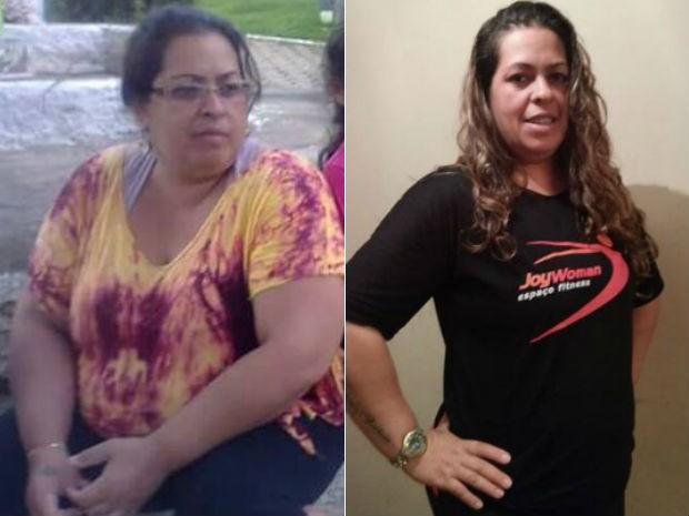 Antes e depois. Emilene perdeu 23 quilos em um ano (Foto: Emilene Oliveira/Arquivo pessoal)
