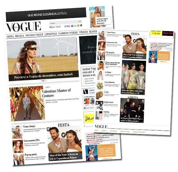 Confira já o novo visual do site da Vogue Brasil (Foto: Reprodução)