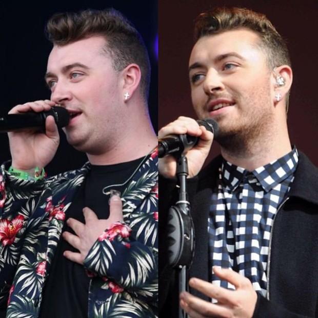 Sam Smith em 2014 e em 2015 (Foto: Instagram/ Reprodução)