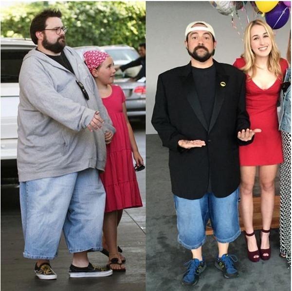 Kevin Smith e a filha Harley em 2008 e 2015 (Foto: Twitter)