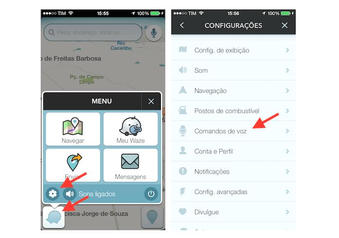 Acessando as configurações de comando de voz do Waze (Foto: Reprodução/Marvin Costa)