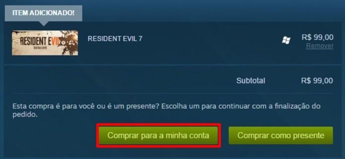 Inserção de dados de pagamento dão acesso a download de Resident Evil 7 (Foto: Reprodução/Felipe Demartini)