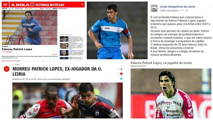 Morte Patrick Fabionn Lopes Muriaé ex-Cruzeiro União de Leiria Portugal (Foto: Reprodução)