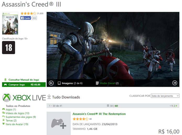Assassins Creed 3 na Xbox Marketplace (Foto: Reprodução/André Mello)