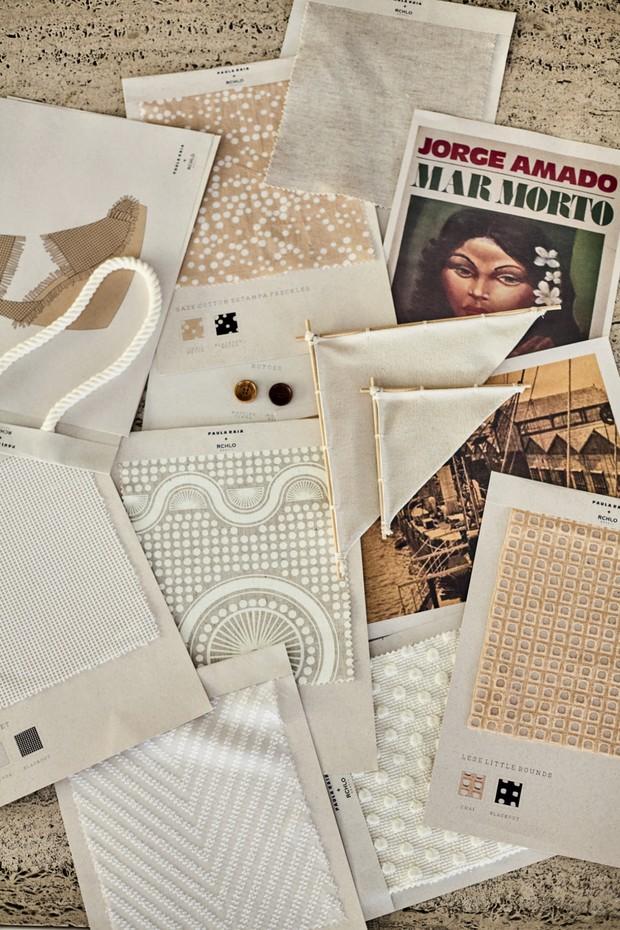 Amostras das matérias-primas usadas na coleção criada por Paula Raia em parceria com a Riachuelo (Foto: Higor Bastos e Divulgação)