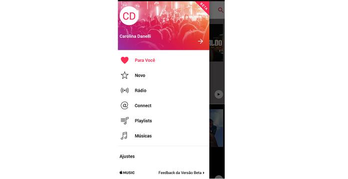 Acesse os ajustes do Apple Music (Reprodução/Carol Danelli)