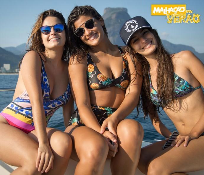 Amanda de Godoi, Giulia Costa e Marina Moschen participam do especial 'Malhação Verão' (Foto: Fabiano Battaglin/Gshow)