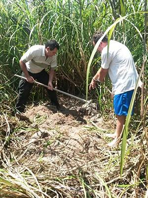 Pedreiro levou polícia ao local onde enterrou a mala com corpo dentro (Foto: Divulgação/Polícia Civil)