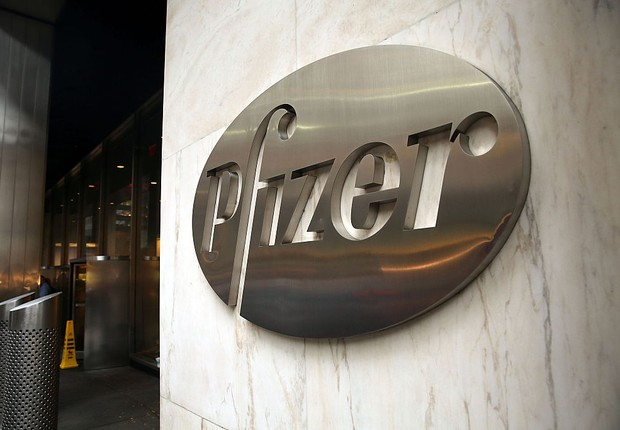 Sede da Pfizer no centro de Manhattan (Foto: Spencer Platt/ Getty Images)