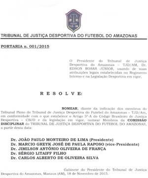 Portaria do Tribunal de Justiça Desportiva do Amazonas (Foto: Reprodução)