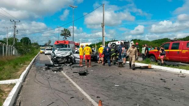 Colisão aconteceu na Rota do Sol, na Zona Sul de Natal (Foto: Camila Torres/Inter TV Cabugi)
