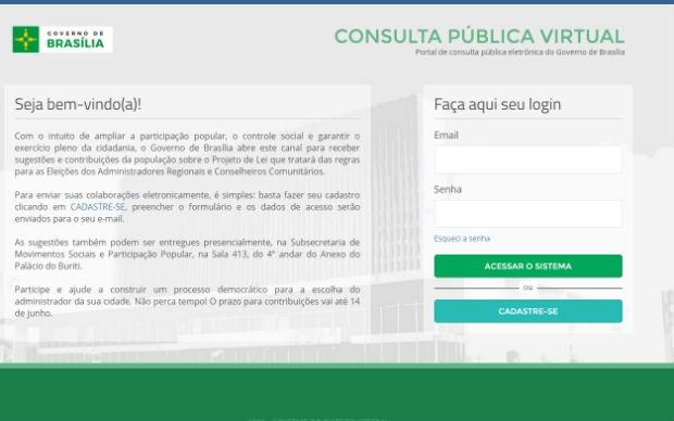 Consulta pública sobre eleição de administradores regionais vai até 14 de junho (Foto: GDF/Reprodução)