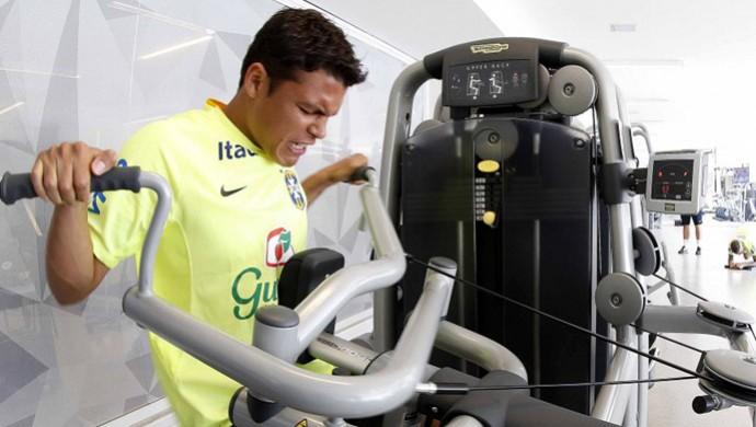 Thiago Silva Treino Academia Seleção Brasileira (Foto: Rafael Ribeiro/CBF)