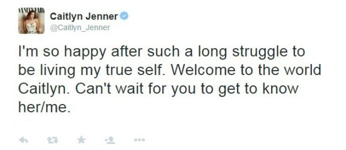 Após revelar o novo nome, Caitlyn Jenner estreou no Twitter (Foto: Reprodução / Twitter)