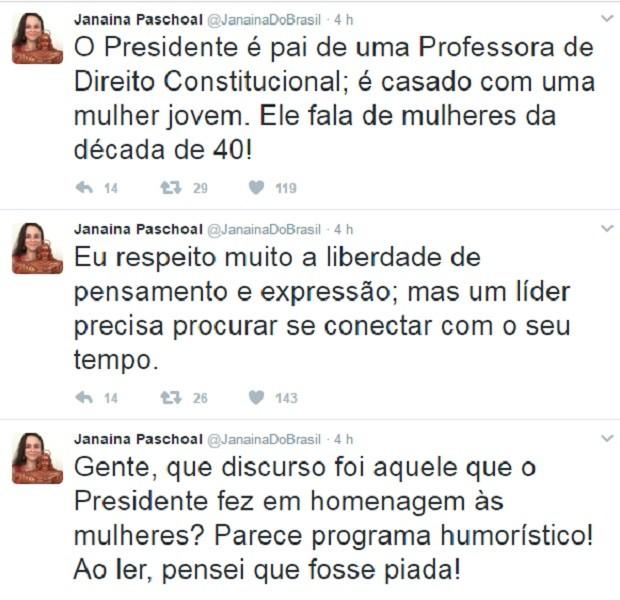 Tweets de Janaína Paschoal sobre discurso de Michel Temer do Dia da Mulher (Foto: Reprodução Twitter)