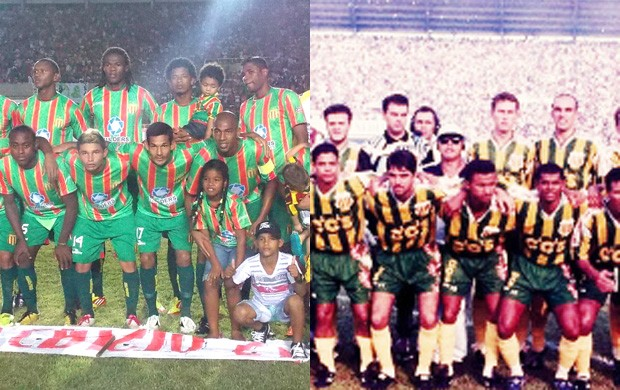 Sampaio Corrêa de 2012 (à esquerda) decide Brasileiro e pode se igualar ao time de 1997 que conquistou nacional invicto (Foto: Arte/Globoesporte.com)