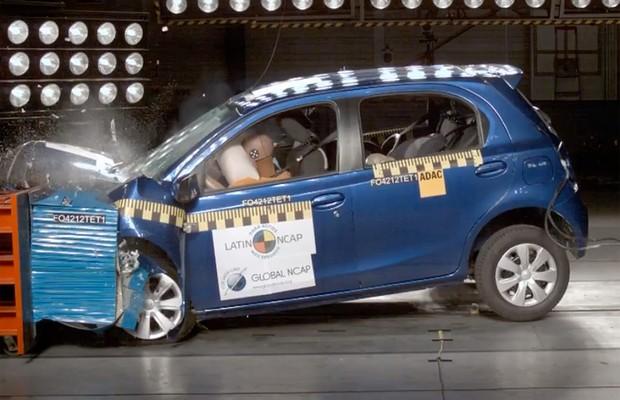 Toyota Etios em crash test do Latin NCAP (Foto: Divulgação/Latin NCAP)