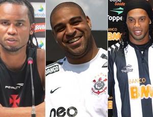 Montagem Adriano, Carlos Alberto e Ronaldinho Gaúcho. (Foto: Editoria de arte / Globoesporte.com)