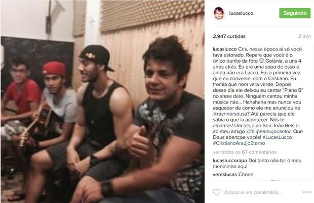 Lucas Lucco faz post em homenagem a Cristiano Araújo (Foto: Reprodução / Instagram)