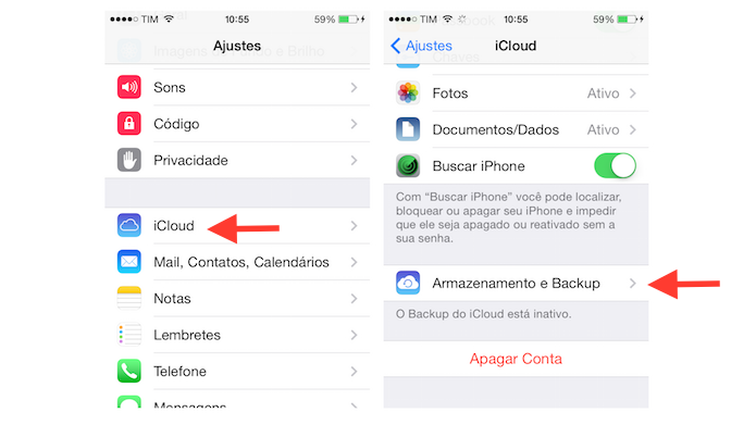 Acessando a configuração de armazenamento e backup do iCloud no iPhone (Foto: Reprodução/Marvin Costa)