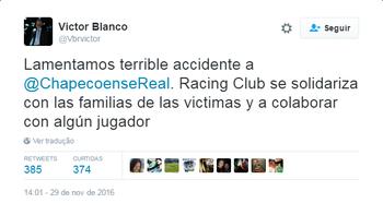 Victor Blanco presidente Racing Twitter (Foto: Reprodução / Twitter)