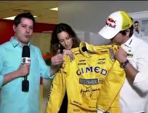 Cacá Bueno e Bianca Senna macacão SporTV (Foto: Reprodução SporTV)