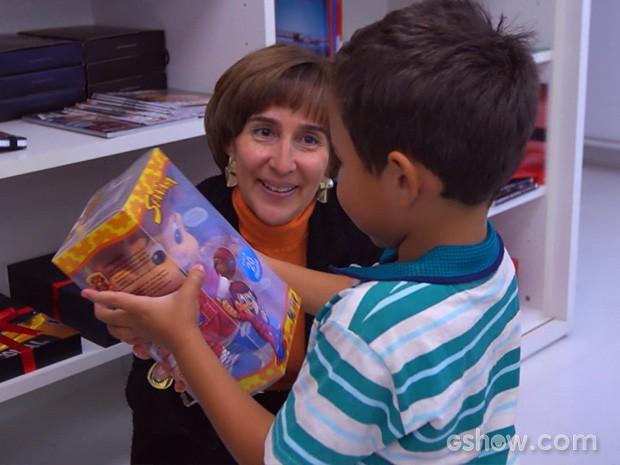 Viviane Senna recebeu Adaías e família (Foto: Caldeirão do Huck/TV Globo)