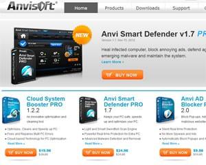 Página na internet da empresa de antivírus 'Anvisoft' (Foto: Reprodução)