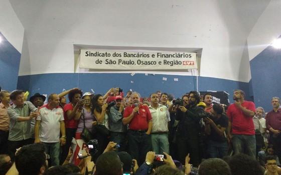 Lula no Sindicato dos Bancários (Foto: Nina Finco)