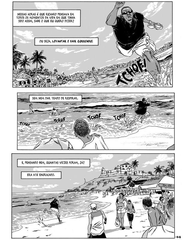 Trecho de Tungstênio: Quintanilla descrever Richard, um policial de Salvador que vive entre dilemas, mas não hesita em agir (Foto: Divulgação)