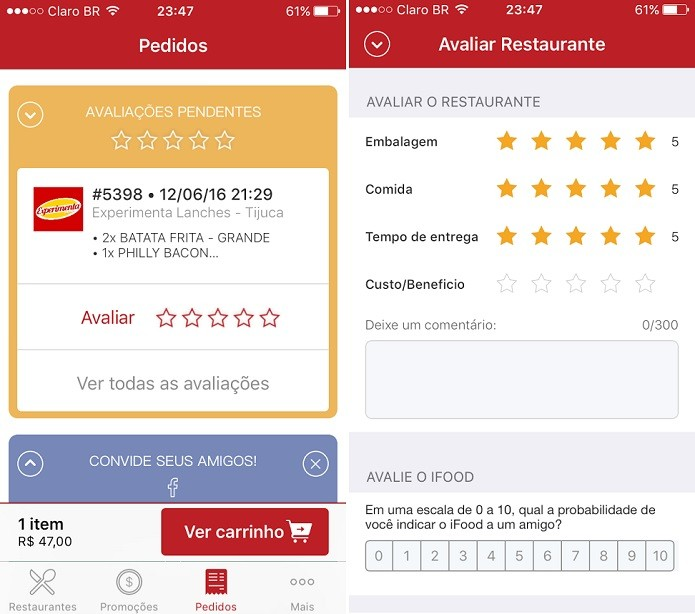 Usuários podem avaliar locais onde fizeram pedidos (Foto: Reprodução/Aline Jesus)
