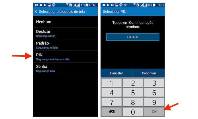 Configurando um código PIN para bloqueio de tela do Galaxy Gran Prime Duos (Foto: Reprodução/Marvin Costa)