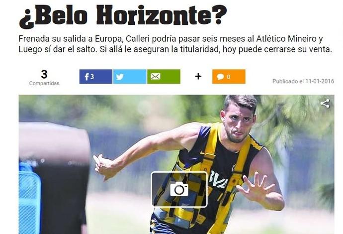 Jornal argentino fala sobre possível vinda de Jonathan Calleri para o Atlético-MG (Foto: Reprodução/Olé)