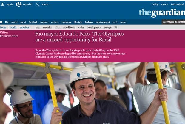 Paes disse ao The Guardian que Olimpíada é oportunidade perdida para o Brasil (Foto: Reprodução)