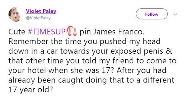 Uma das acusações de assédio e abuso feitas contra James Franco (Foto: Twitter)
