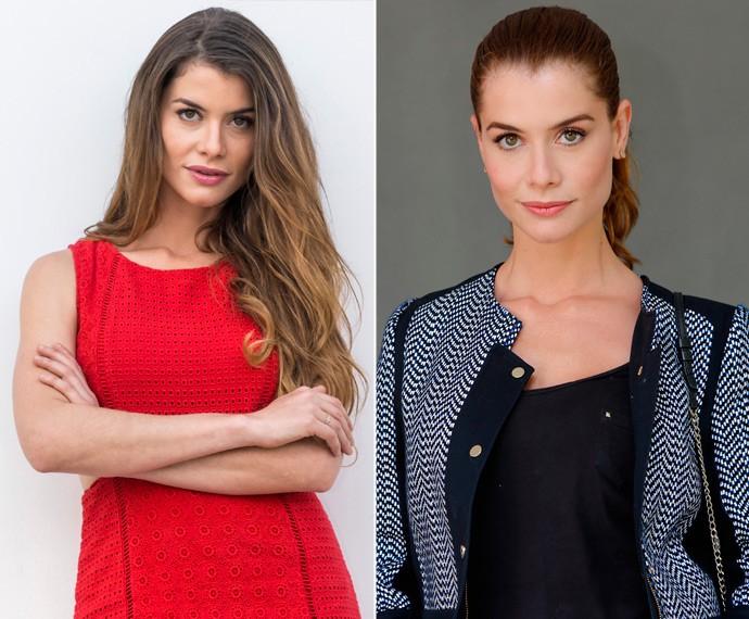 Antes e depois: Alinne Moraes cortou as longas mandeixas para a nova fase de 'Além do Tempo' (Foto: Paulo Belote/Globo / Fábio Rocha/Gshow)