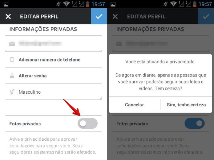 Ativando proteção de fotos do Instagram (Foto: Reprodução/Helito Bijora)