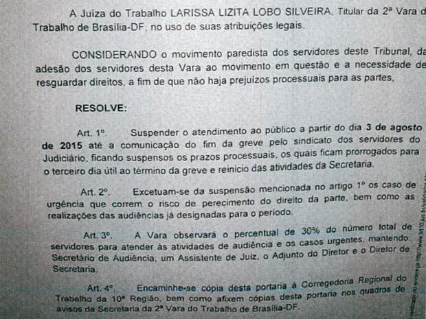 Portaria assinada por magistrado do TRT suspendendo atendimento ao público (Foto: G1/Reprodução)