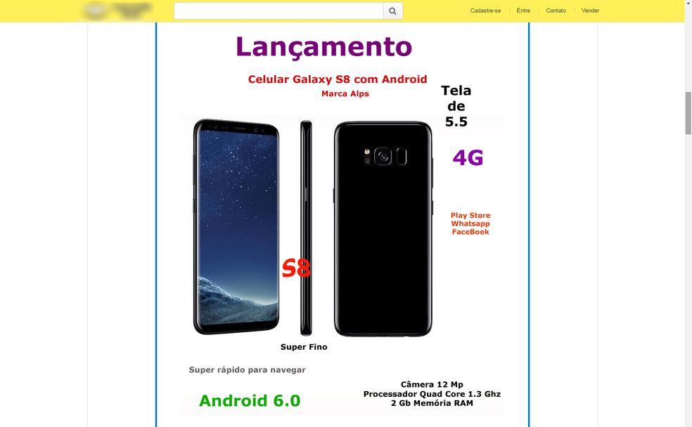 Anúncio de Galaxy S8 falsificado usa foto de divulgação da Samsung, mas mostra especificações incorretas (Foto: Reprodução)