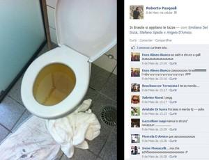 Jogador italiano Pasquali posta foto de privada entupida denegrindo a imagem do Brasil (Foto: Reprodução)