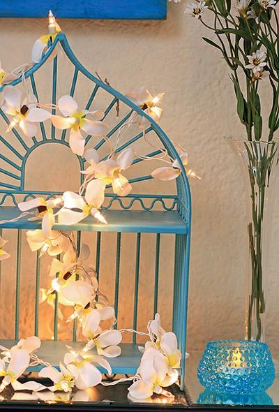 Disfarçadas de orquídeas, as luzes em miniatura iluminam a gaiola de ferro